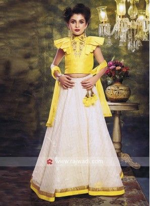 Silk Embroidered Lehenga Set for Kids