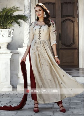 Silk Embroidered Palazzo Suit