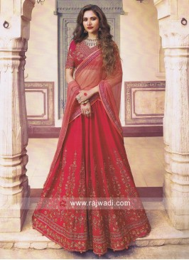 Silk Embroidered Pleated Lehenga Choli