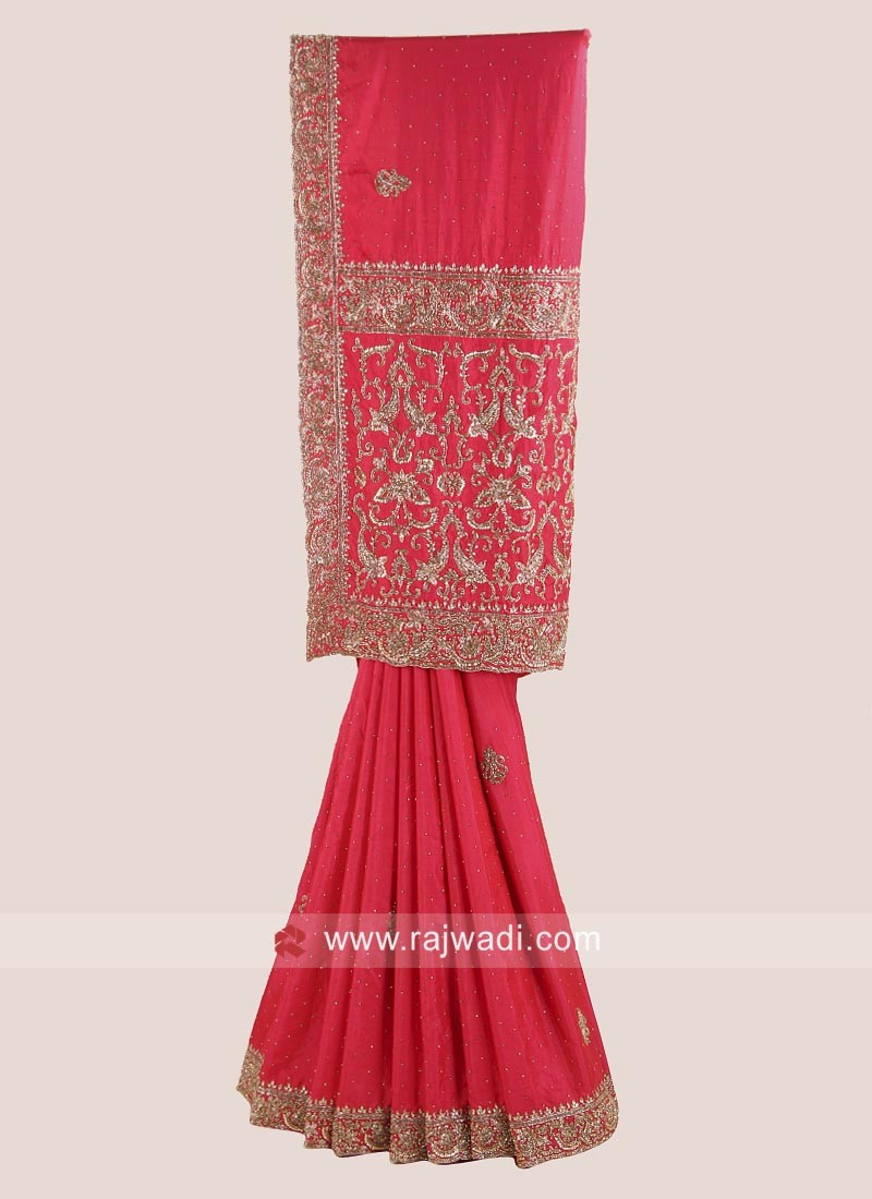 Silk Embroidered Saree in Red