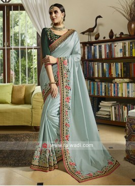 Silk Embroidered Saree with Border