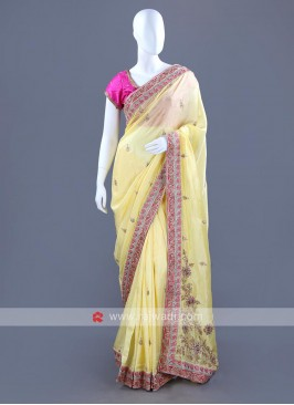 Silk Embroidered Sari with Blouse