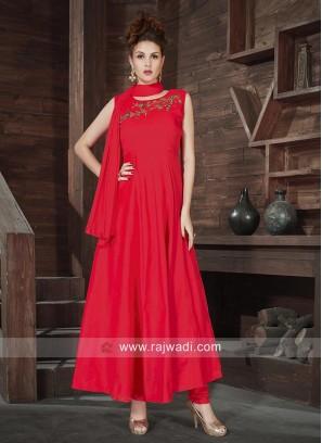 Silk Embroidered Stitched Anarkali Dress