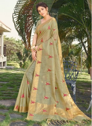 Silk Embroidered Traditional Designer Saree in Green
