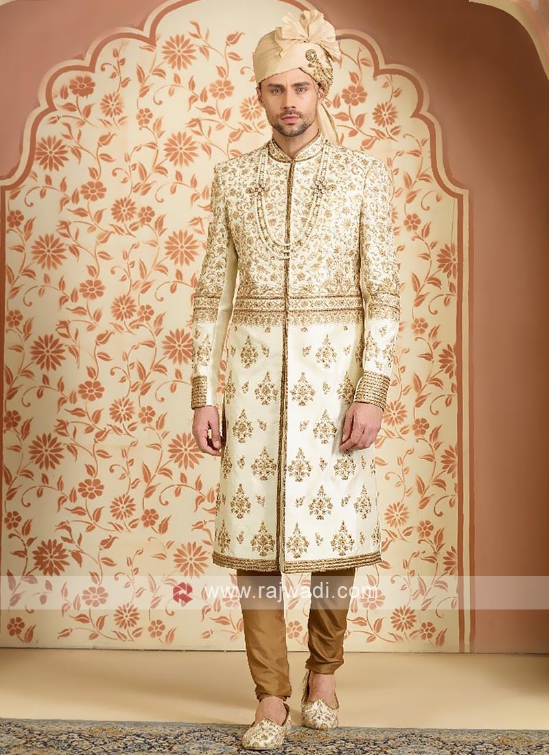 Silk embroidery sherwani