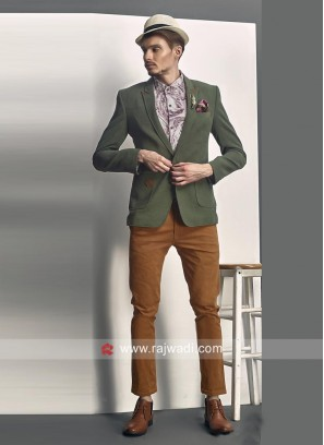 Imported Fabric Bottle Green Color Blazer