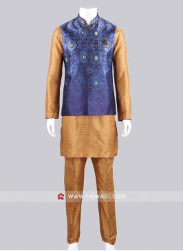 Silk Fabric Blue and Goldenrod Modi Koti Set