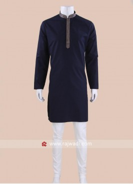 Cotton Silk Fabric Navy Color Kurta Set