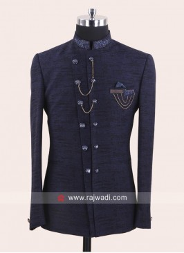 Silk Fabric Blue Jodhpuri Suit