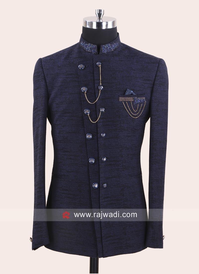 Silk Fabric Blue Jodhpuri Suit