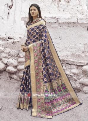 Silk Fabric Blue Saree