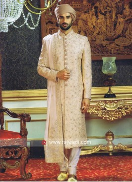 Silk Fabric Diamond and Stone Work Sherwani With Zari Work Stole