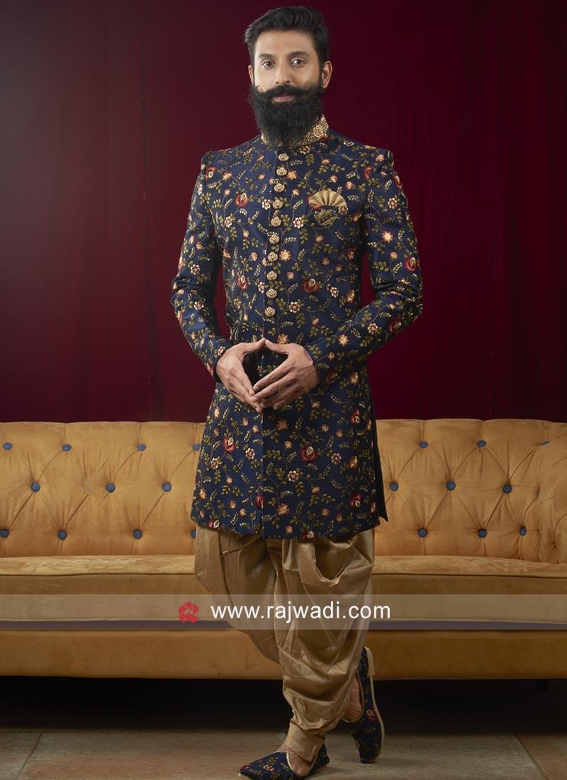 Silk Fabric Blue Color Indo Western