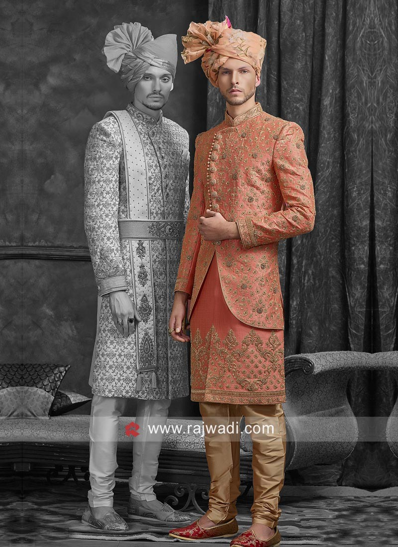 Designer Orange Color Sherwani