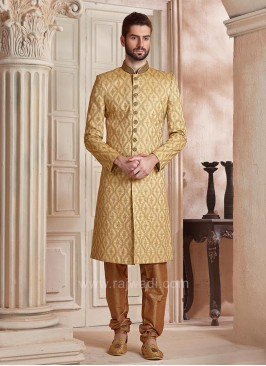 Silk Fabric Golden Color Wedding Sherwani