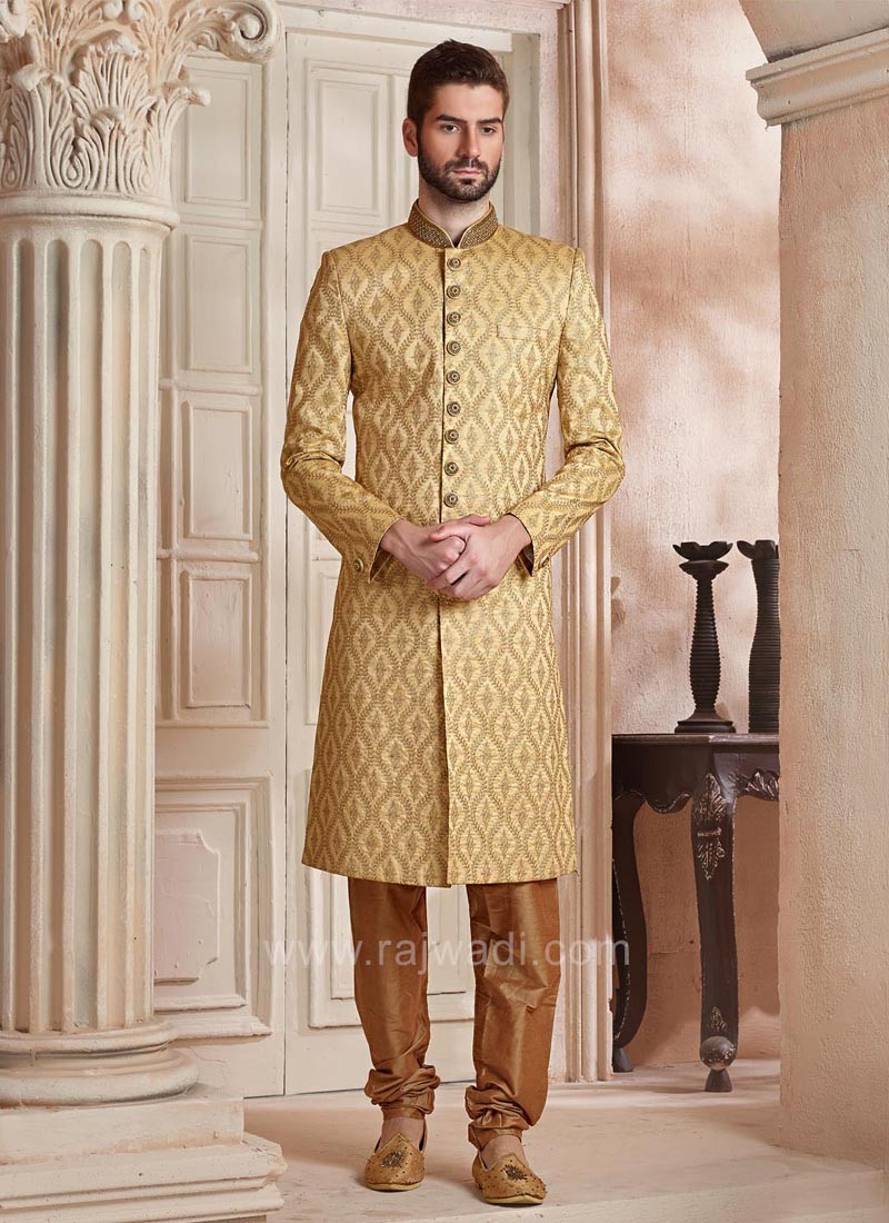 95bf5a0e05 Silk Fabric Golden Color Wedding Sherwani. Hover to zoom
