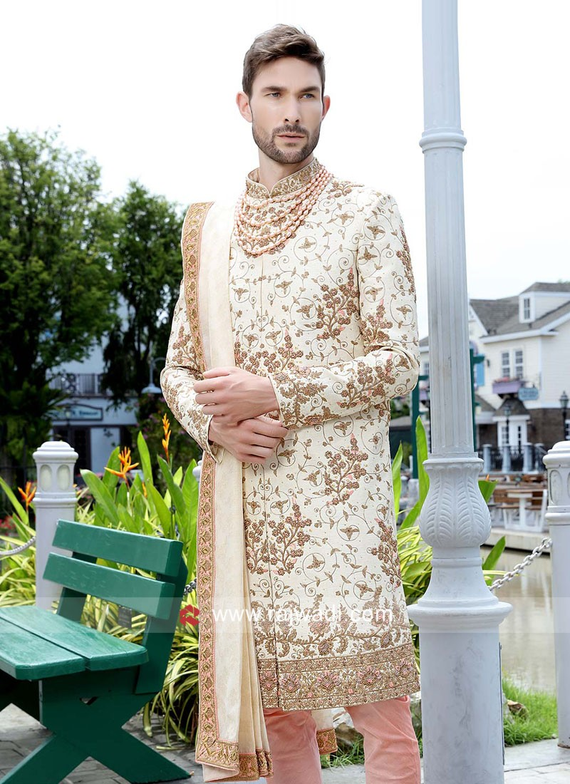 Groom Cream Color Sherwani With Dupatta