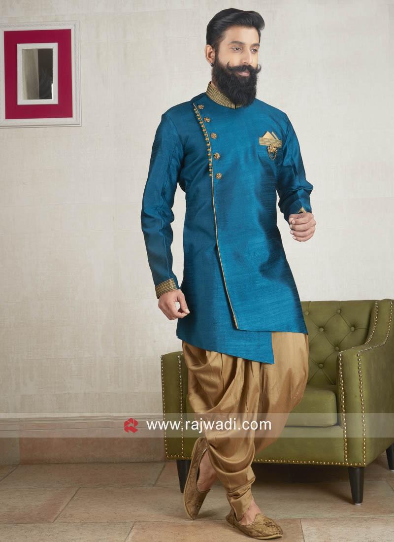 Art Silk Fabric Peacock Blue Color Patiala Suit