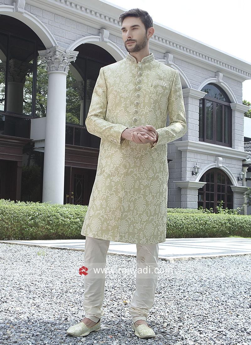 Pista Green Brocade Silk Sherwani