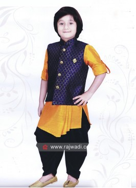 Silk Fabric Indo Western with Fancy Buttons