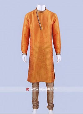 Silk Fabric Kurta Pajama With Stylish Buttons