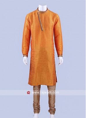 Silk Fabric Kurta Pajama With Stylish Buttons