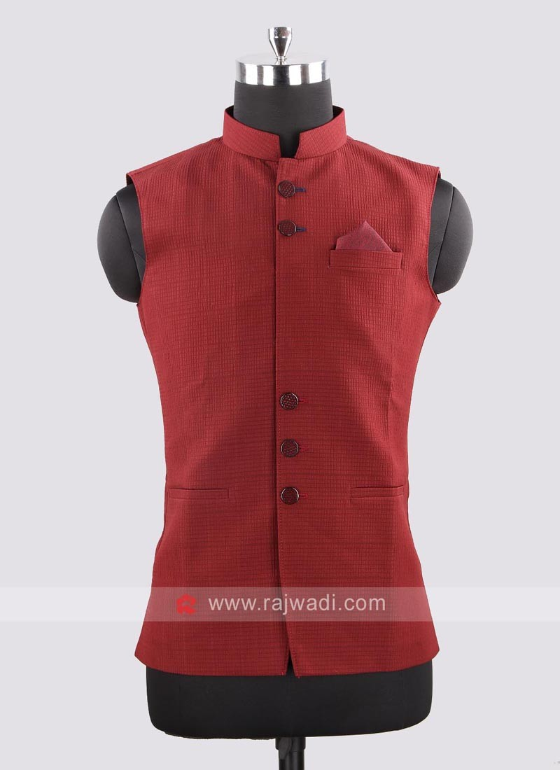 Silk Fabric Maroon Color Koti