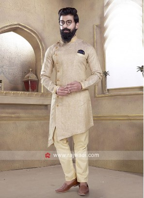 Silk Fabric Dark Beige Color Pathani