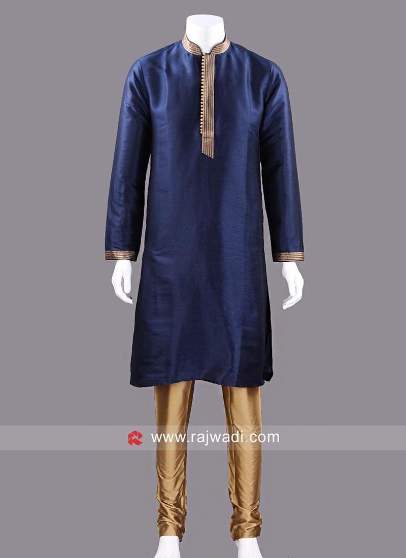Silk Fabric Navy Color Kurta Pajama