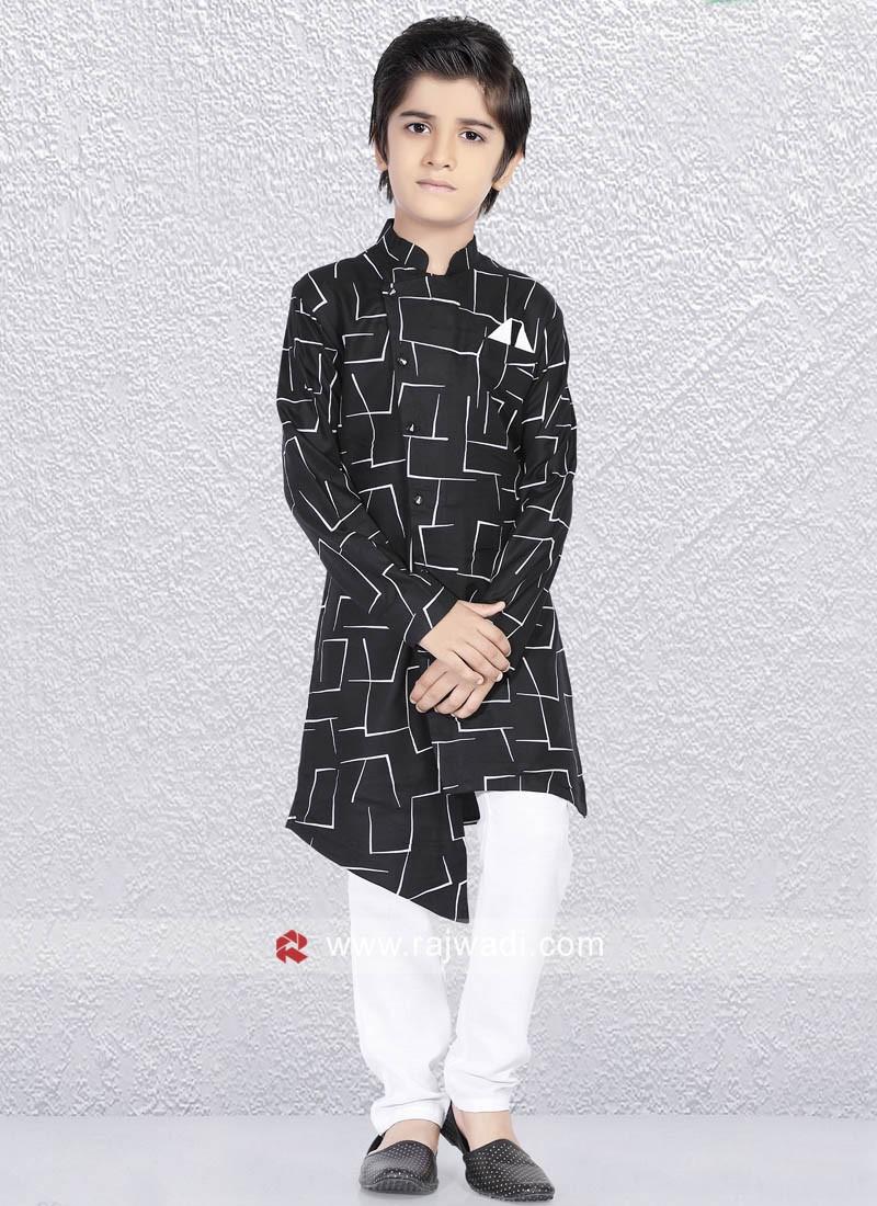 Cotton Silk Fabric Black Color Kurta Pajama