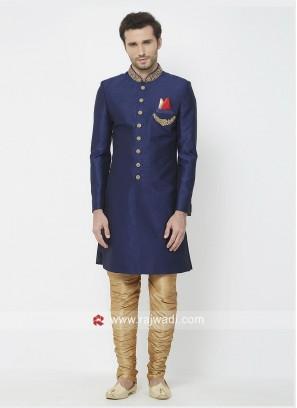 Silk Fabric Navy Indo Western Sherwani
