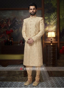 Attractive Pearl Work Silk Sherwani For Wedding
