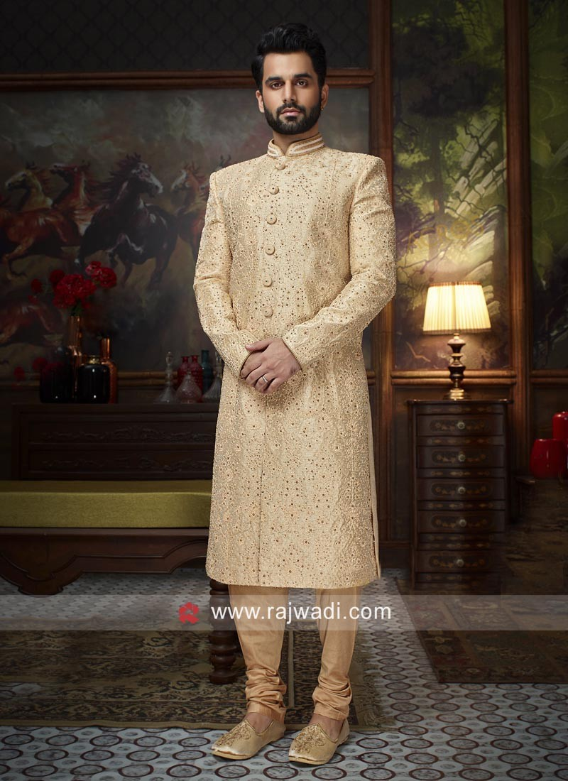 Attractive Pearl Work Silk Sherwani For Wedding