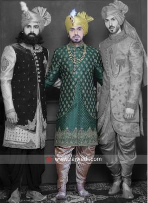Art Silk Fabric Green Indo Western
