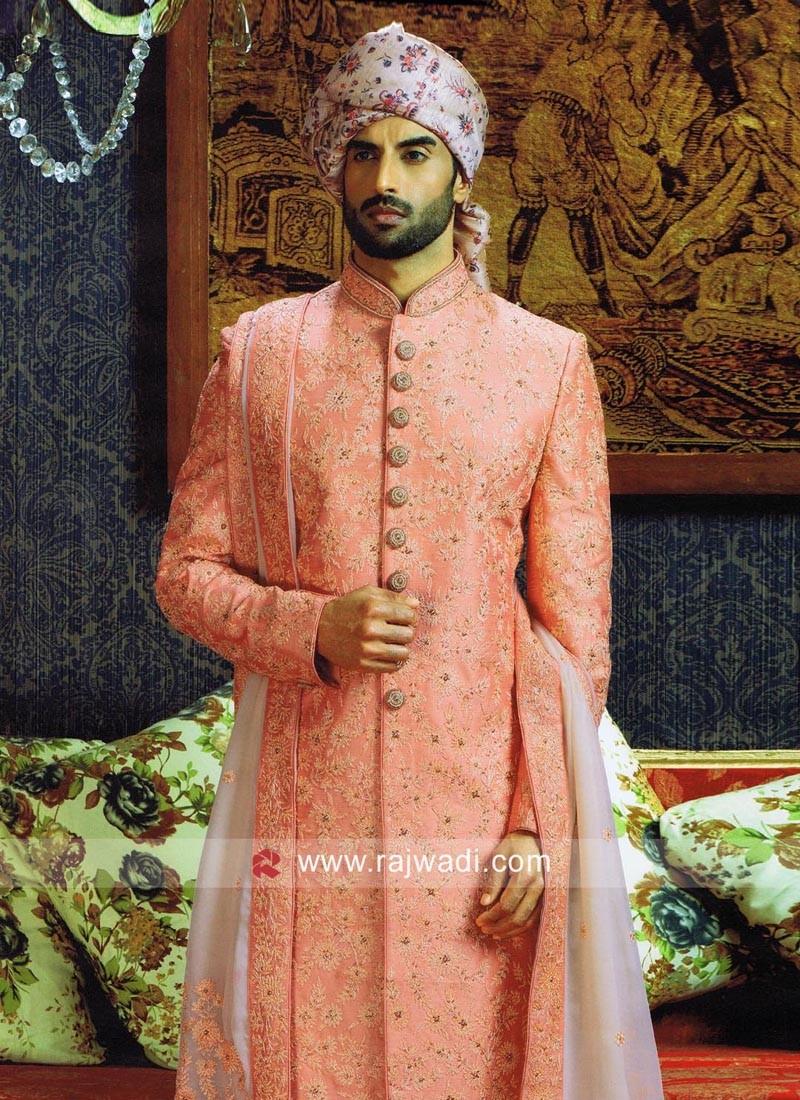 Silk Fabric Peach Sherwani With Stylish Stole