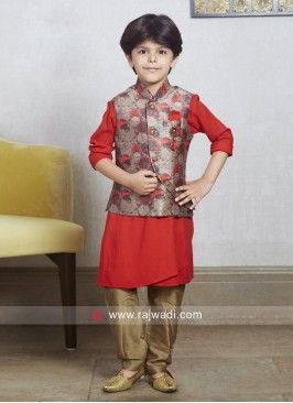 Cotton Silk Fabric Red Nehru Jacket