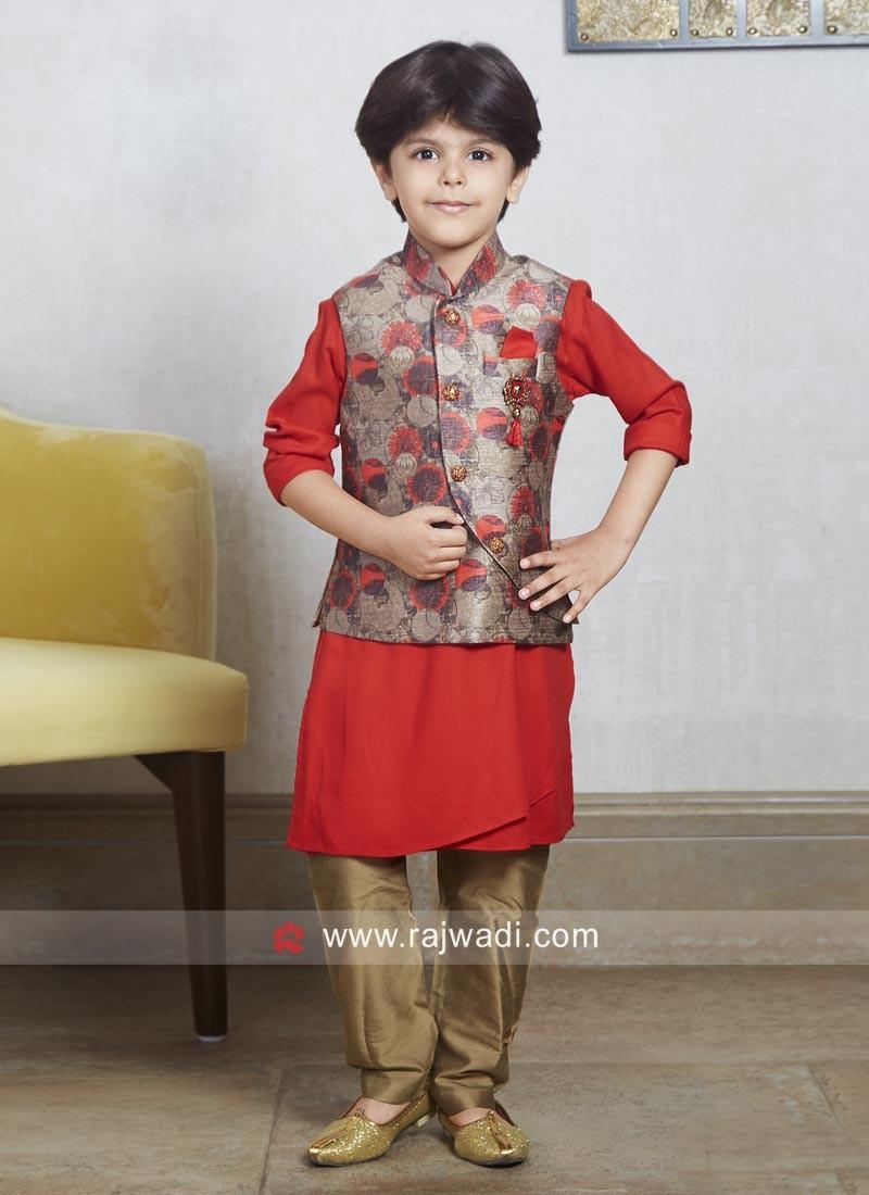 Cotton Silk Fabric Red Nehru Jacket