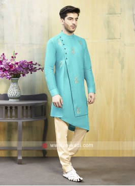 Aqua Color Mens Indo Western