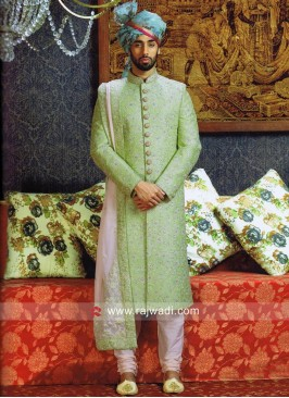 Silk Fabric Wedding Sherwani With Designer Stole
