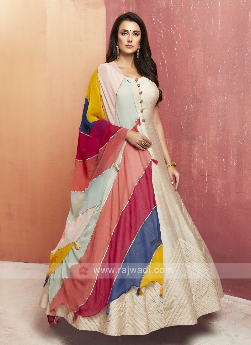 Silk Floor Length Anarkali Suit with Dupatta