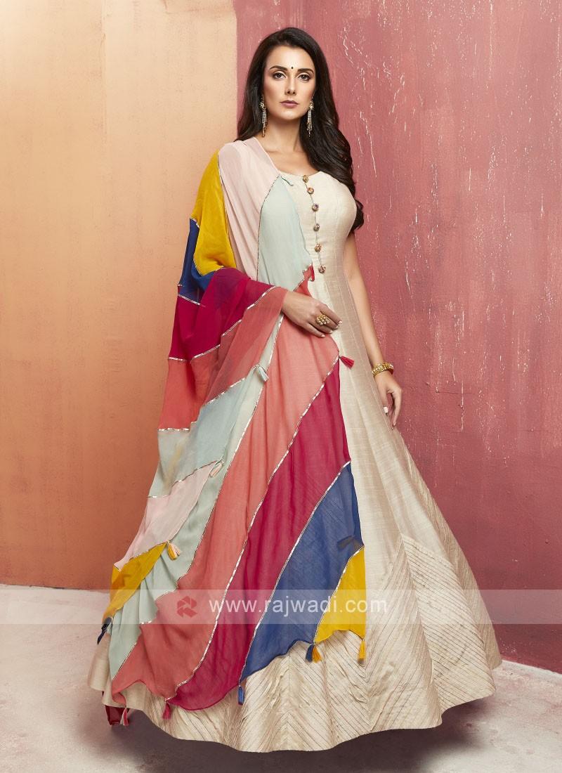 Silk Floor Length Anarkali Suit with Dupatta