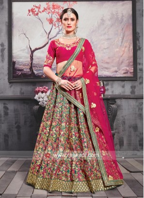 Silk Flower Embroidered Lehenga