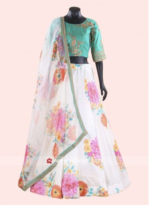 Silk Flower Print Choli Suit