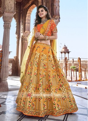 Silk Flower Print Lehenga Choli
