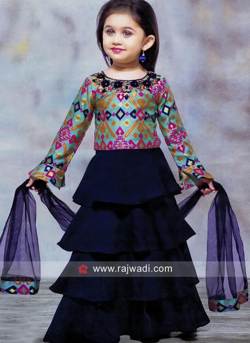 Silk Flower Work Choli Suit