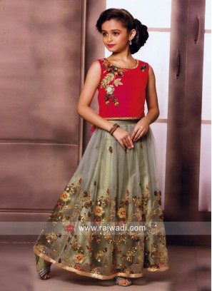 Silk Flower Work Lehenga with Crop Top