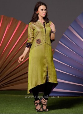 Silk Front Short Slit Cut Layered Kurti