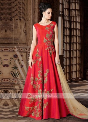 Silk Full Length Semi Stitched Salwar Kameez