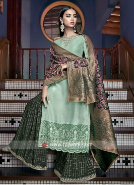 Silk Gharara Suit with Banarasi Silk Dupatta