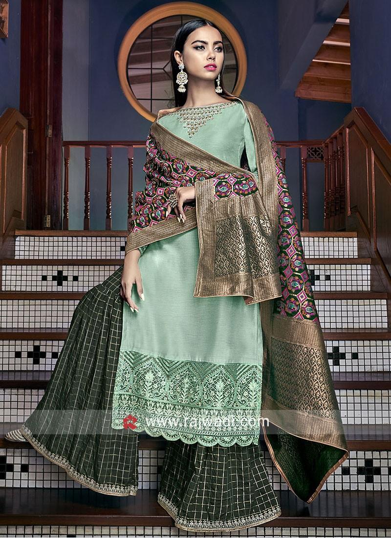 Silk Gharara Suit with Banarasi Silk Dupatta